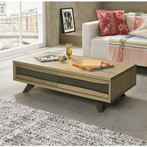 Cadell Aged & Weathered Oak Coffee Table with Drawers - Cadell Furniture