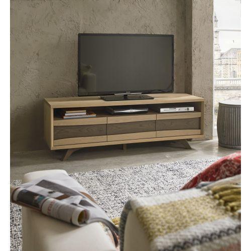 Cadell Aged & Weathered Oak Large TV Unit - Cadell Furniture
