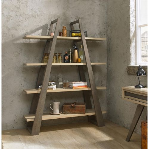 Cadell Aged & Weathered Oak Open Display Unit - Cadell Furniture