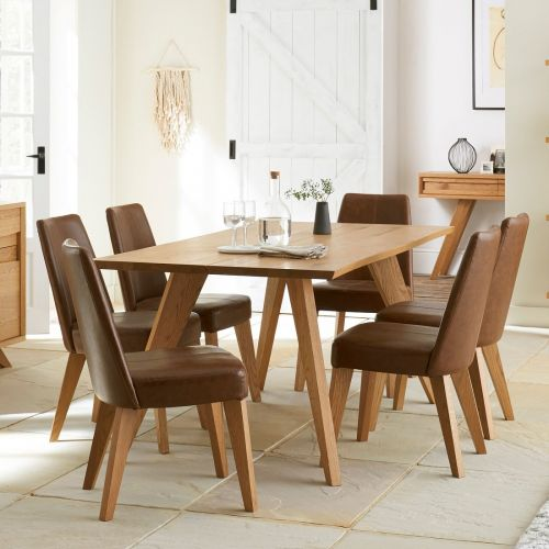 Cadell Rustic Oak 6 Seater Fixed Top Dining Table - Cadell Furniture