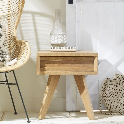 Cadell Rustic Oak Lamp Table with Drawer - Cadell Furniture