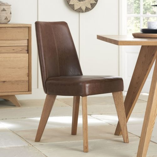 Cadell Rustic Oak Tan Leather Dining Chair (Pair) - Cadell Furniture