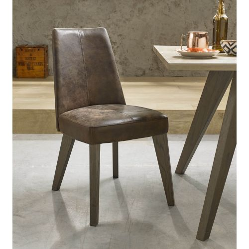 Cadell Weathered Oak Brown Distressed Leather Dining Chair (Pair) - Cadell Furniture