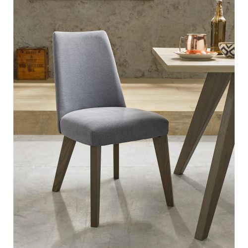 Cadell Weathered Oak Slate Blue Fabric Dining Chair (Pair) - Cadell Furniture