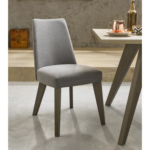 Cadell Weathered Oak Smoke Grey Fabric Dining Chair (Pair) - Cadell Furniture