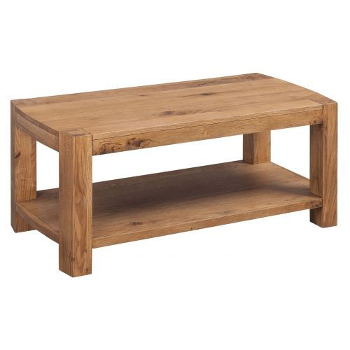 Como Rustic Oak Coffee Table with Shelf