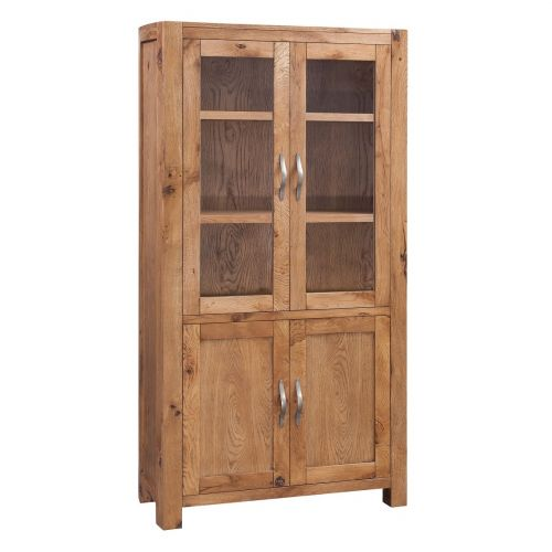 Como Rustic Oak Display Cabinet