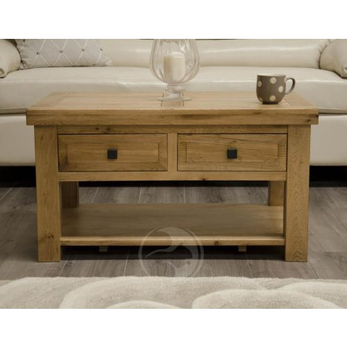 Coniston Rustic Solid Oak Coffee Table With Drawers