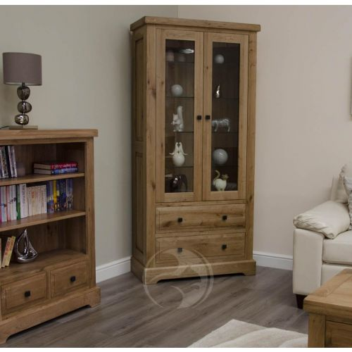 Coniston Rustic Solid Oak Glass Display Cabinet