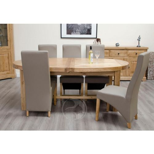 Coniston Rustic Solid Oak Large Oval Extending Dining Table