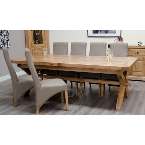 Coniston Rustic Solid Oak Large X Leg Extending Dining Table