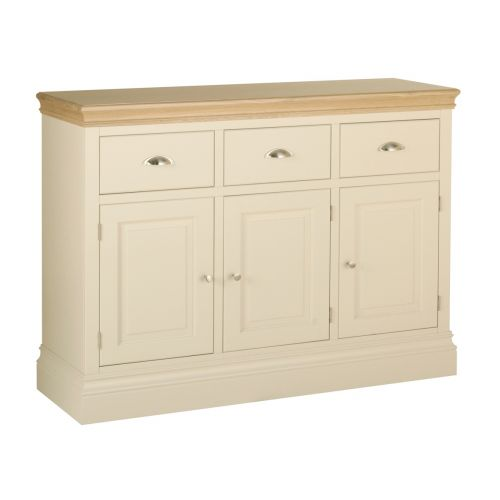 Country Oak and Painted 3 Door Sideboard