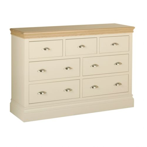 Country Oak and Painted 7 Drawer Wide Chest