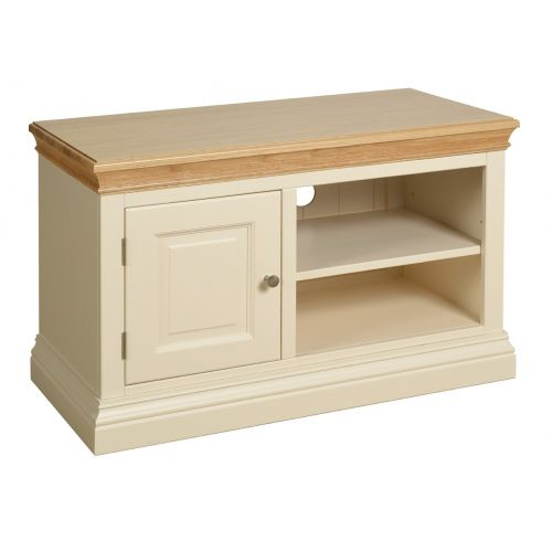 Country Oak and Painted Small TV Cabinet