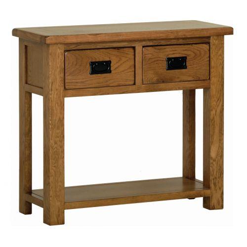 Edinburgh Rustic Oak 2 Drawer Console Table