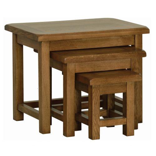 Edinburgh Rustic Oak Nest of Tables