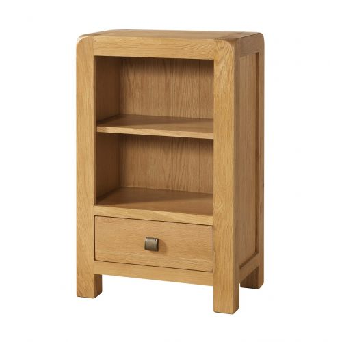 Fairfield Oak Low Bookcase with 1 Drawer
