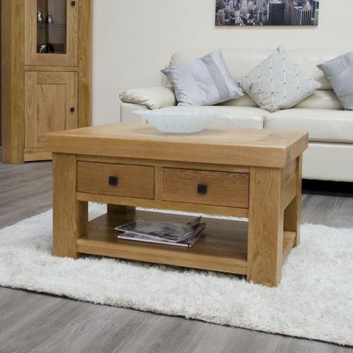 French Bordeaux Oak Coffee Table with Drawers