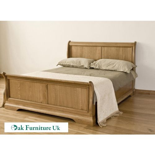"French Style Solid American White Oak 4'6"" Double Sleigh Bed"