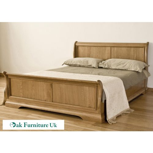 French Style Solid American White Oak 6' Super King Size Sleigh Bed