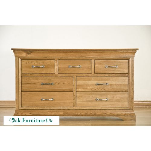 French Style Solid American White Oak 7 Drawer Wide Chest