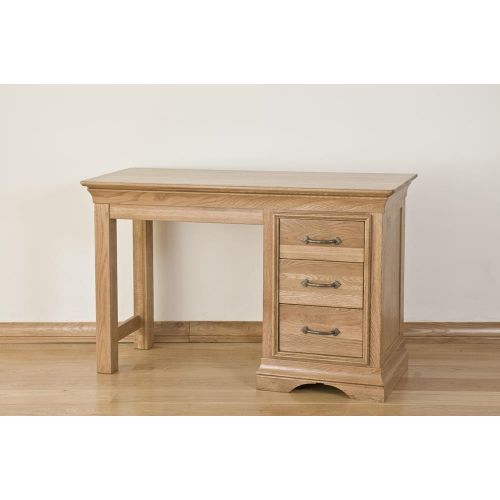 French Style American White Oak Single Pedestal Dressing table