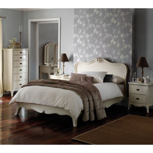 """Louis French Ivory Painted 4' 6"""" Double Bed"""