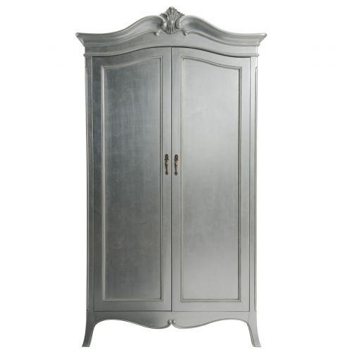 Louis French Silver Leaf Double Wardrobe