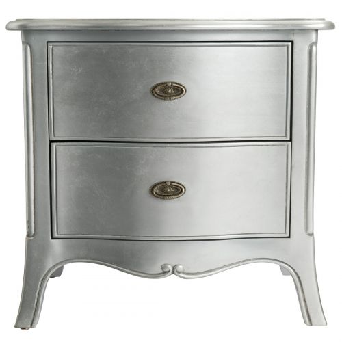 Louis French Silver Leaf 2 Drawer Large Bedside Chest