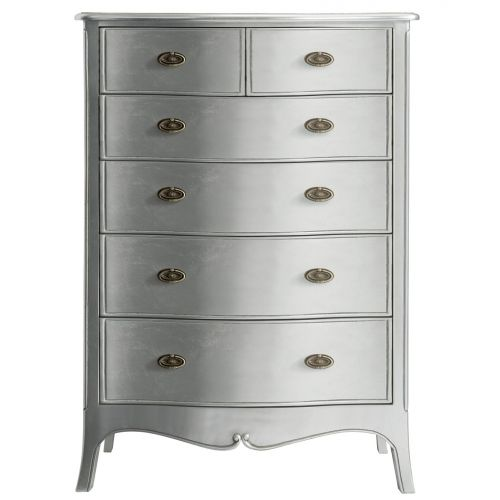 Louis French Silver Leaf 6 Drawer Chest