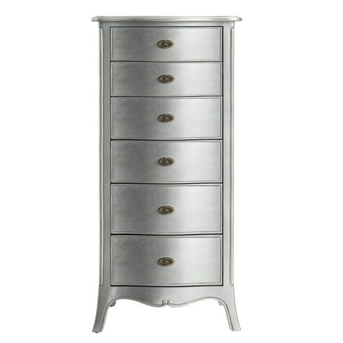 Louis French Silver Leaf 6 Drawer Tallboy
