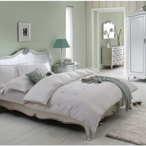 Louis French Silver Leaf 6' Super King Size Bed