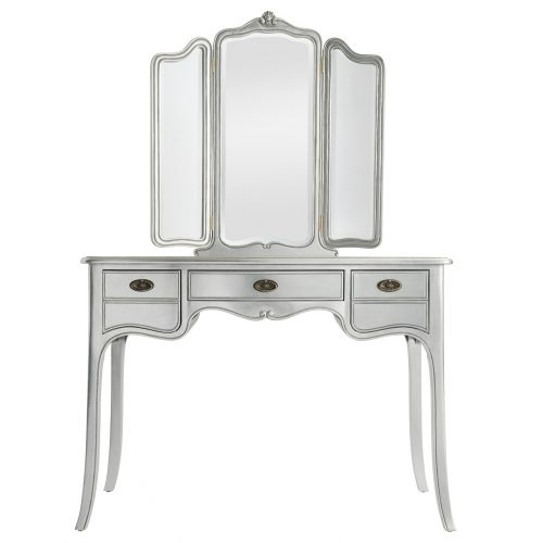 Louis French Silver Leaf Dressing Table with Mirror