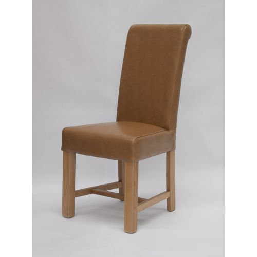 Louisa Tan Leather Scroll Top Dining Chair