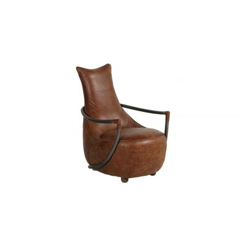 Maverick Brown Leather Retro Relax Armchair