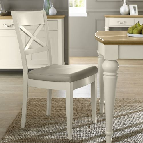 Montreux Antique White Painted Cross Back Dining Chair - Ivory Leather - Montreux Furniture