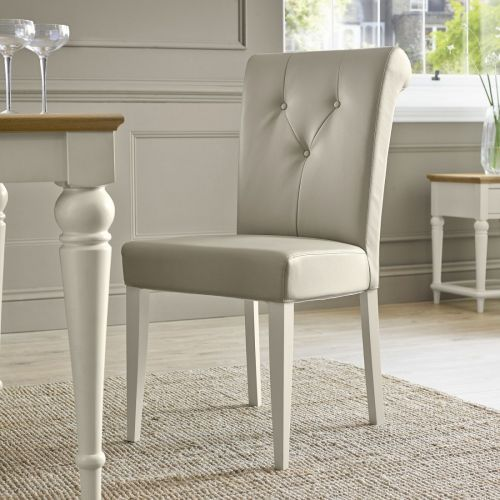 Montreux Antique White Painted Upholstered Dining Chair - Ivory Leather - Montreux furniture