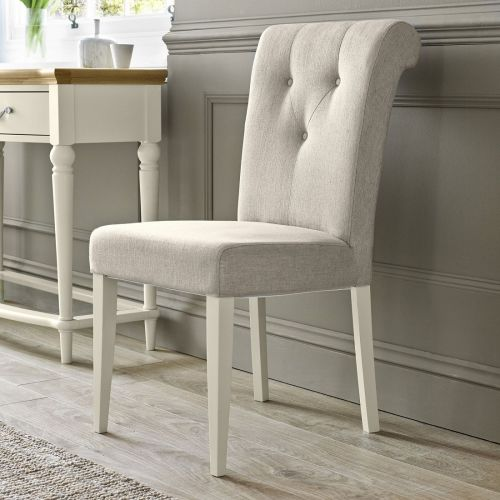 Montreux Antique White Painted Upholstered Dining Chair - Sand Fabric - Montreux Furniture