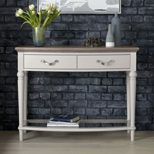 Montreux Grey Washed Oak & Soft Grey Painted Console Table - Montreux Furniture