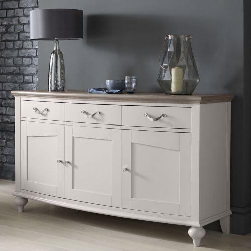 Montreux Grey Washed Oak & Soft Grey Painted Large Sideboard - Montreux Furniture