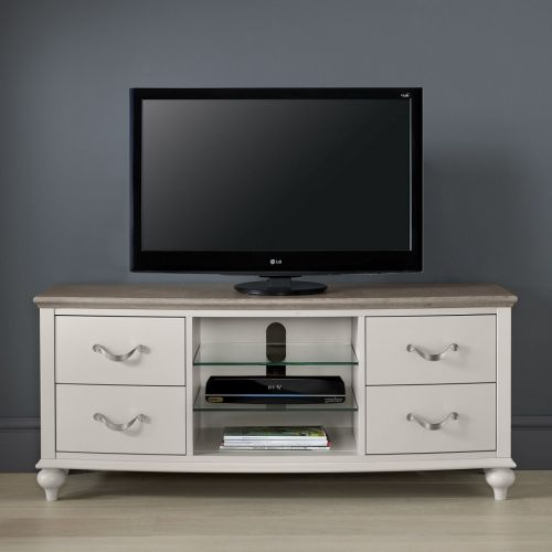 Montreux Grey Washed Oak & Soft Grey Painted TV Unit - Montreux Furniture