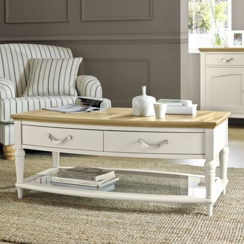 Montreux Oak & Antique White Painted Coffee Table with Drawers - Montreux Furniture