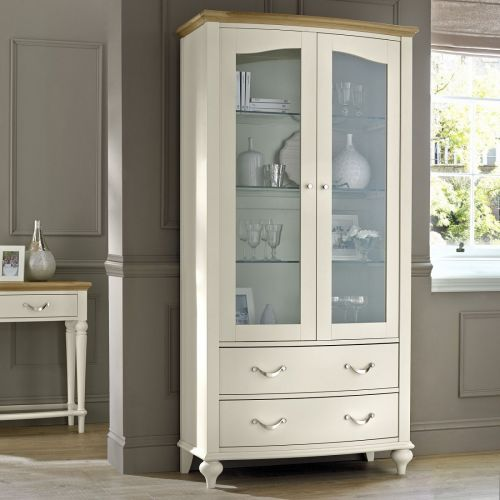 Montreux Grey Washed Oak & Soft Grey Painted Display Cabinet - Montreux Furniture