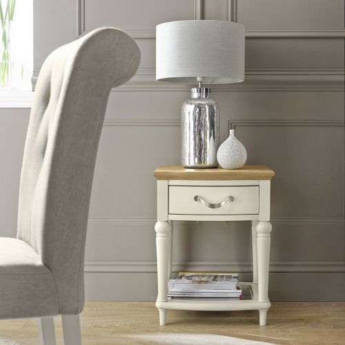 Montreux Oak & Antique White Painted Lamp Table with Drawer - Montreux Furniture
