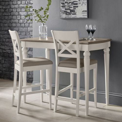 Montreux Soft Grey Painted Cross Back Bar Stool - Grey Bonded Leather - Montreux Furniture