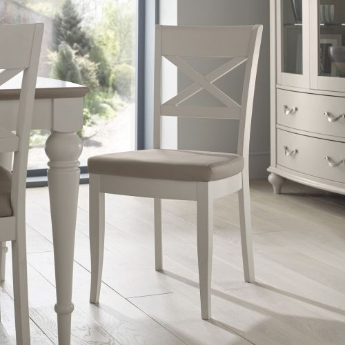 Montreux Soft Grey Painted Cross Back Dining Chair - Grey Leather - Montreux Furniture