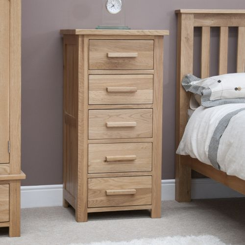 Opus Solid Oak 5 Drawer Tallboy