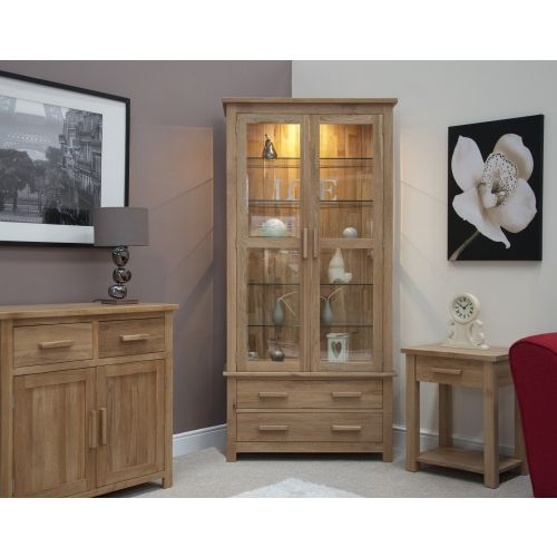 Opus Solid Oak Glass Display Cabinet