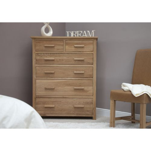 Opus Solid Oak Large 6 Drawer Chest