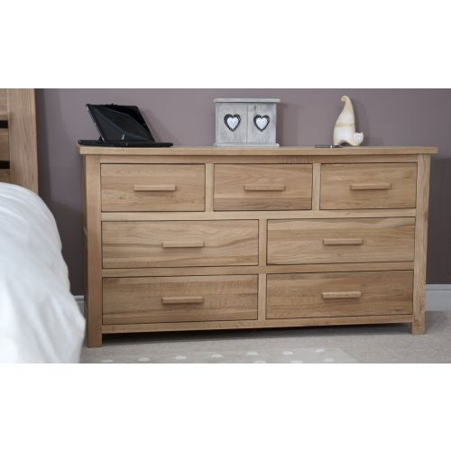 Opus Solid Oak Large 7 Drawer Wide Chest
